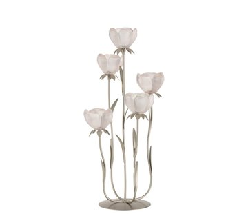 J -Line Tealight Holder Stand Glass Five Flowers Pink - Large