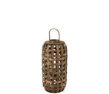 J -Line Lantern Cylinder Textured Wood Dark Brown - Small