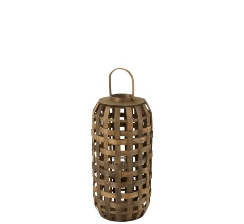 J-Line  Lantaarn Cilinder Geweven Hout Donkerbruin - Small