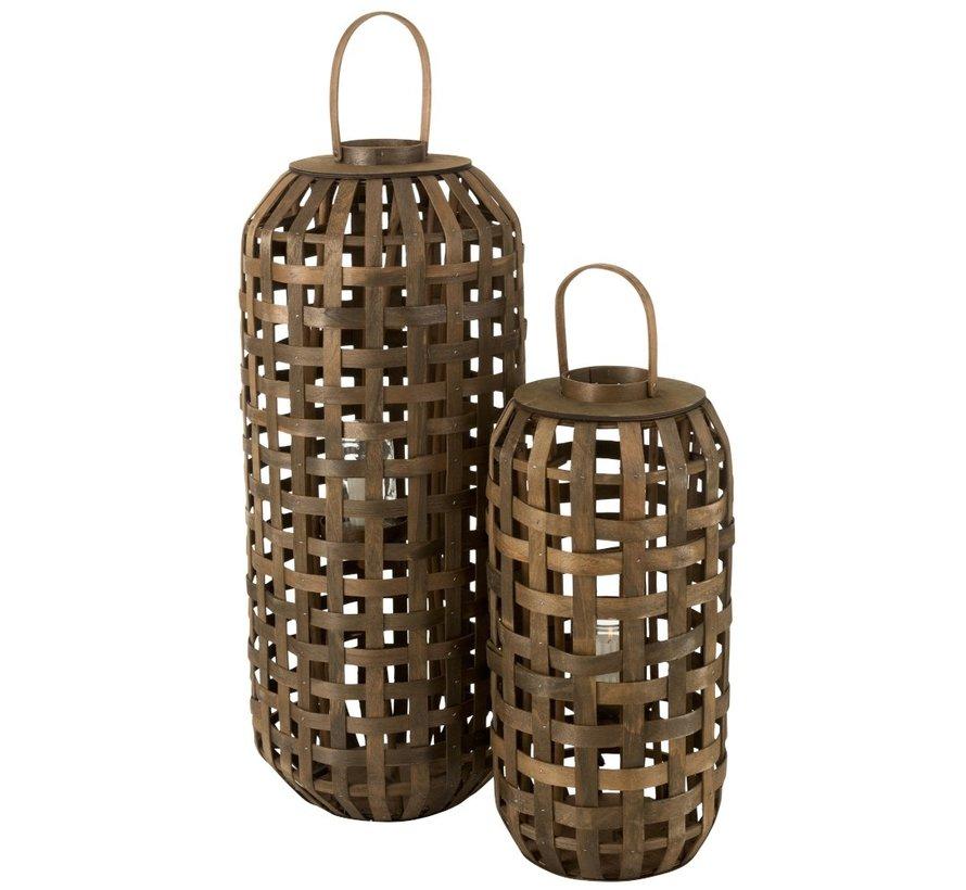 Lantern Cylinder Textured Wood Dark Brown - Small