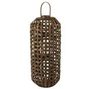 J -Line Lantern Cylinder Textured Wood Dark Brown - Large