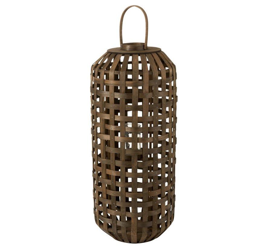 Lantern Cylinder Textured Wood Dark Brown - Large