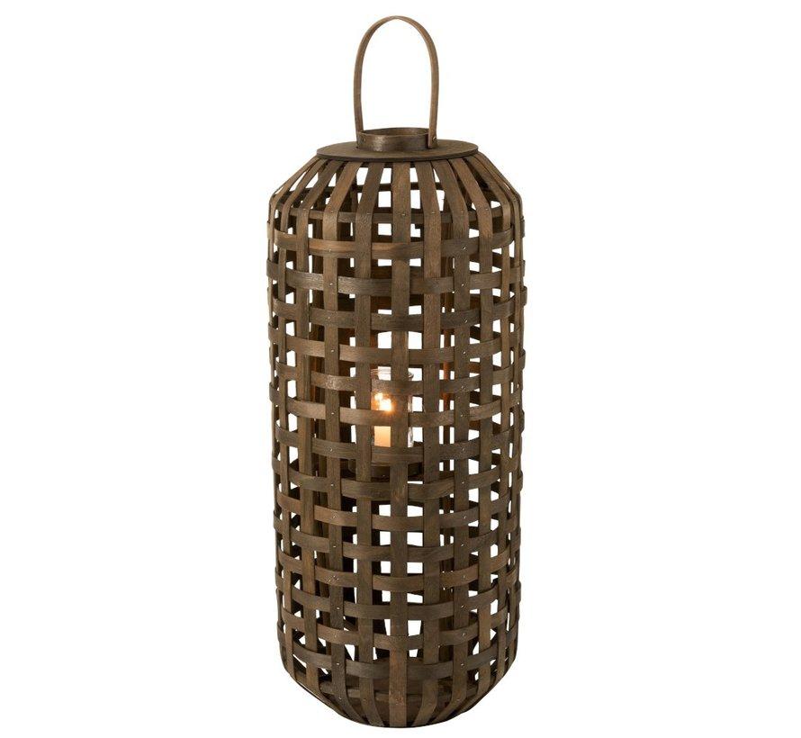 Lantaarn Cilinder Geweven Hout Donkerbruin - Large