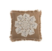 J -Line Cushion Square Abstract Flower Burlap Brown - White