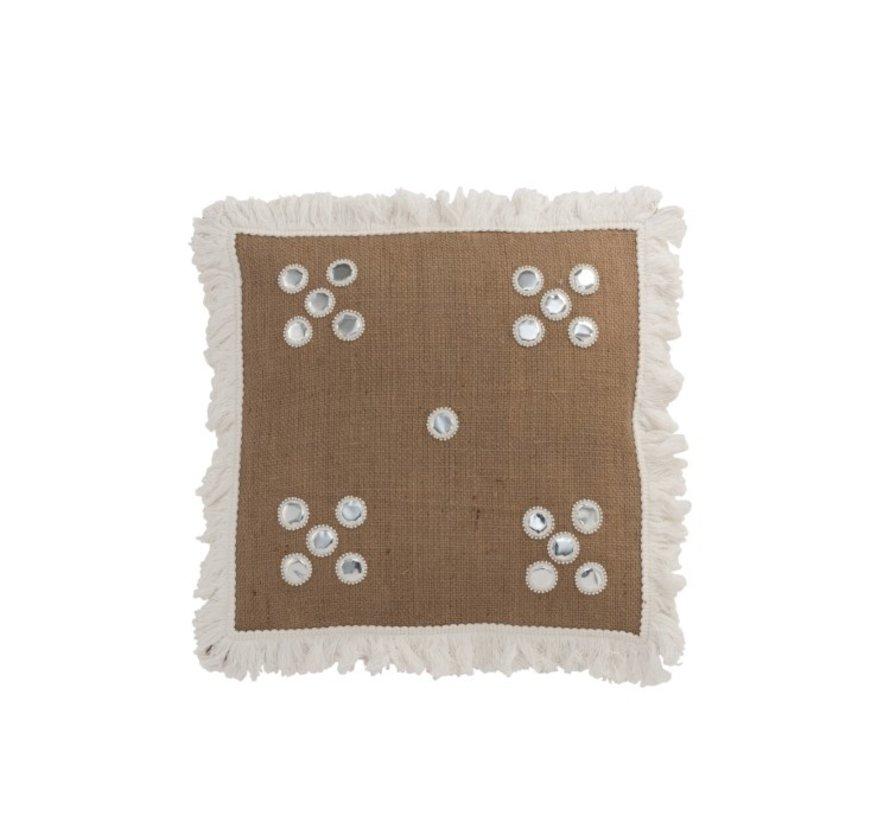 Kussen Vierkant Spiegeltjes Jute Bruin - Wit