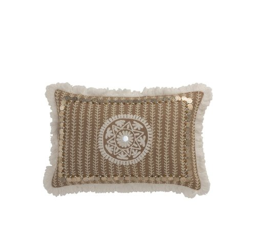 J -Line Pillow Rectangle Pattern Coins Jute Brown - White
