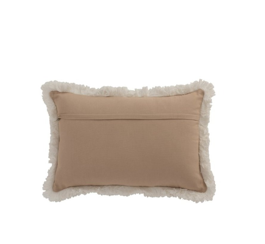 Pillow Rectangle Pattern Coins Jute Brown - White