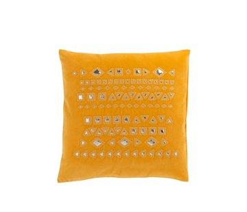 J-Line Cushion Square Mirrors Patterns Velvet Ocher - Yellow