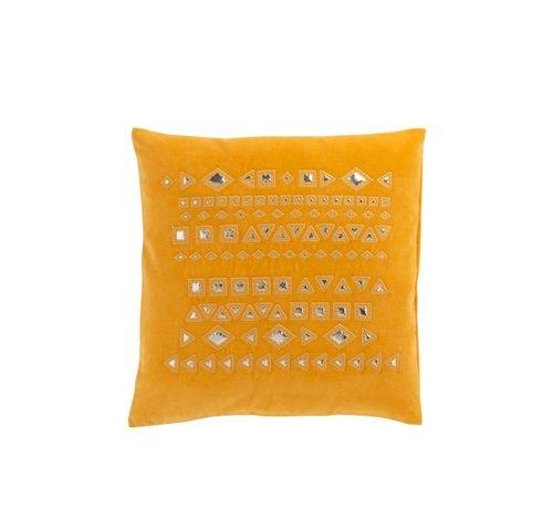 J -Line Cushion Square Mirrors Patterns Velvet Ocher - Yellow