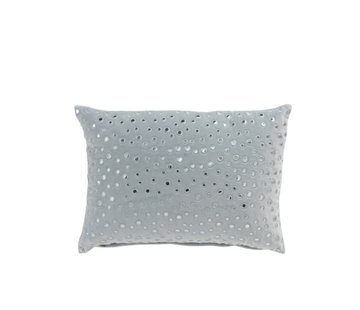 J -Line Pillow Rectangle Mirror Drops Velvet - Light Blue