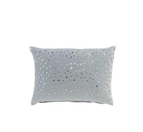J -Line Pillow Rectangle Mirror Drops Velvet - Light Blue