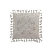 J-Line  Cushion Square Velvet Moroccan Tassels - Gray