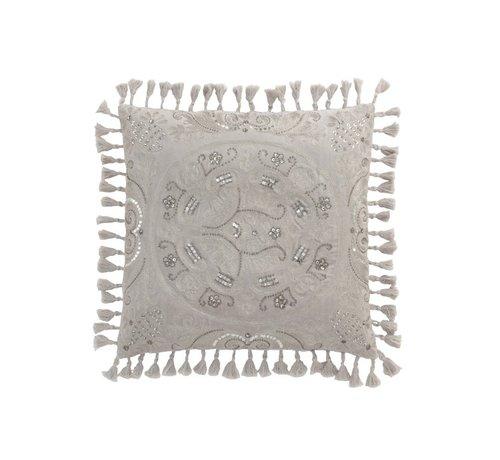 J -Line Cushion Square Velvet Moroccan Tassels - Gray