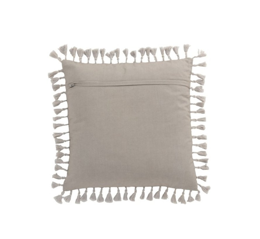 Cushion Square Velvet Moroccan Tassels - Gray