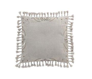 J-Line  Cushion Square Velvet Moroccan Sequins Tassels - Gray