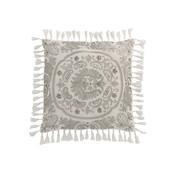J -Line Cushion Square Velvet Moroccan Patterns Tassels Gray - White