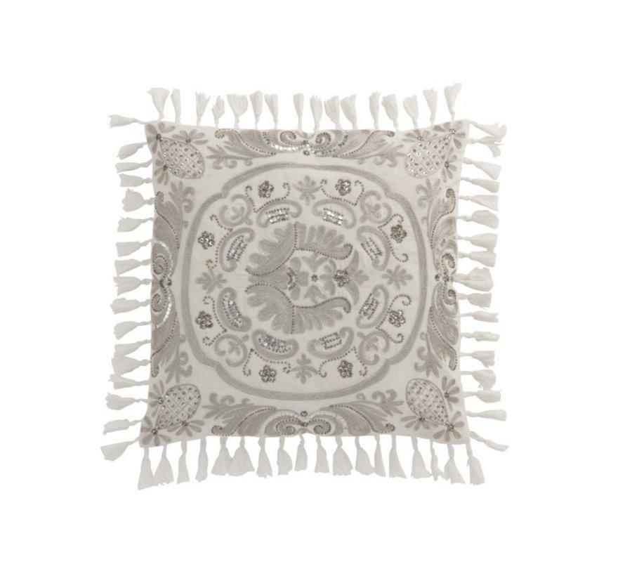 Kussen Vierkant Velvet Marokkaans Patronen Kwasten Grijs - Wit