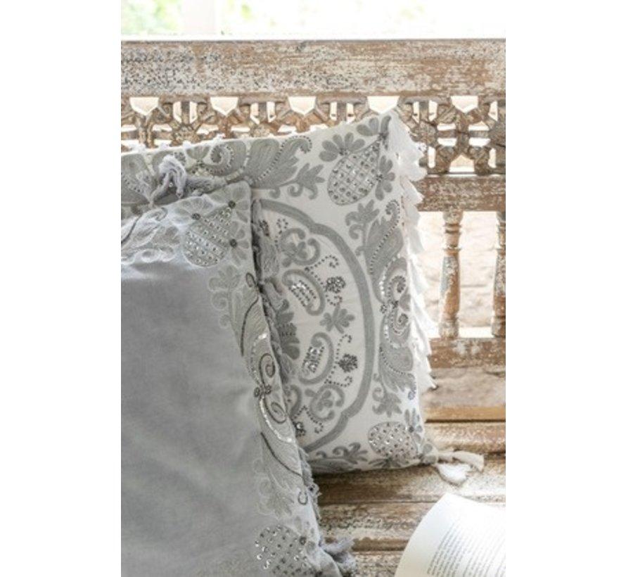 Cushion Square Velvet Moroccan Patterns Tassels Gray - White
