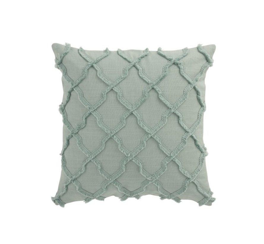 Cushion Square Cotton Wavy Diamonds - Mint
