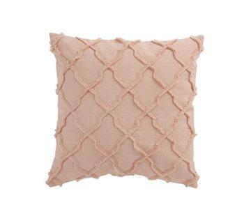 J -Line Cushion Square Cotton Wavy Check - Pink