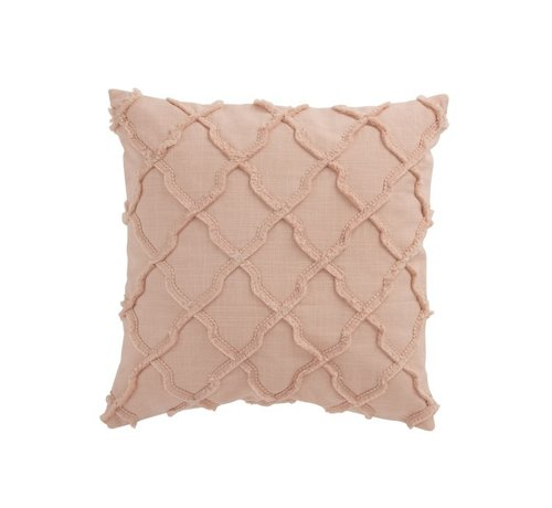 J-Line  Cushion Square Cotton Wavy Check - Pink