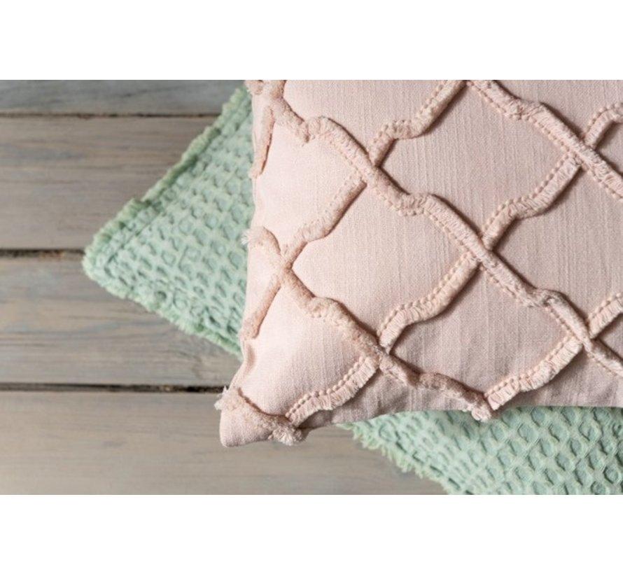 Cushion Square Cotton Wavy Check - Pink
