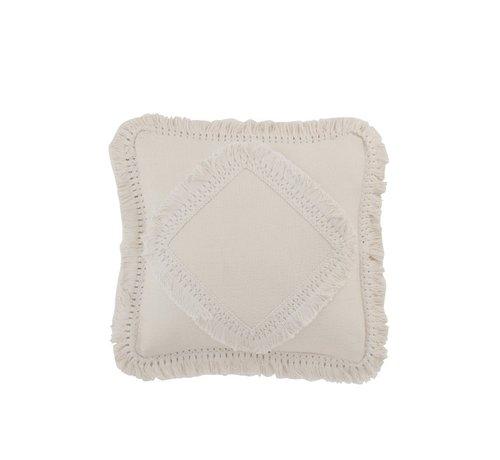 J -Line Cushion Square Cotton Fringes - White