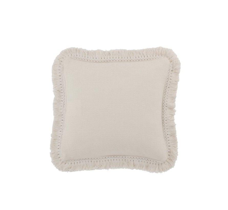 Cushion Square Cotton Fringes - White
