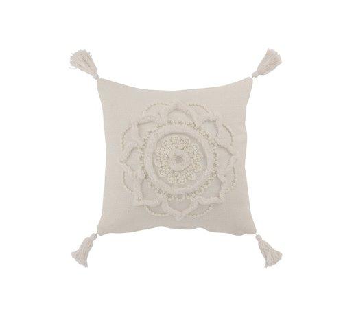 J -Line Cushion Square Cotton Flower Tassels - White