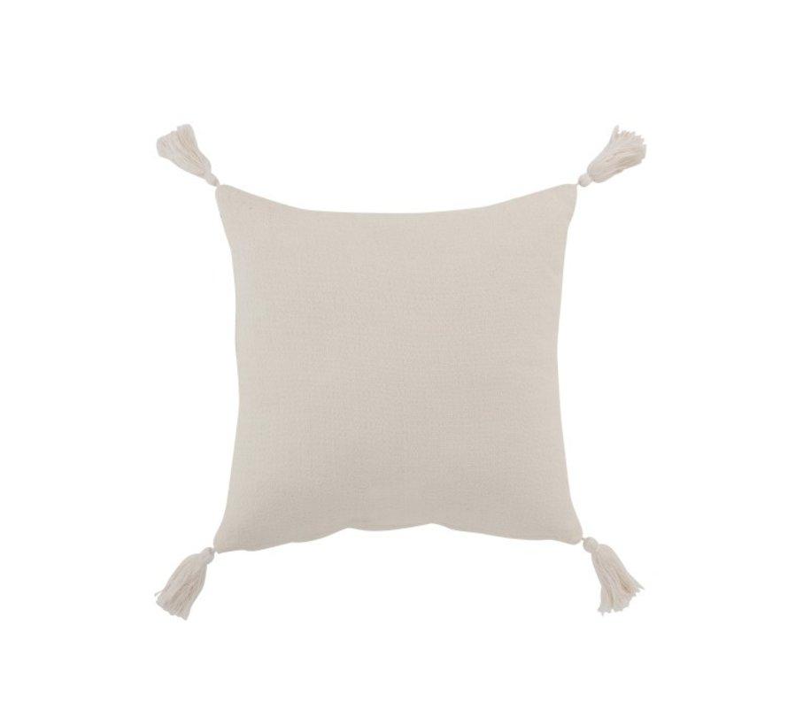 Cushion Square Cotton Flower Tassels - White