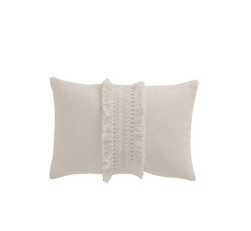 J-Line Cushion Rectangle Cotton tassel band - White