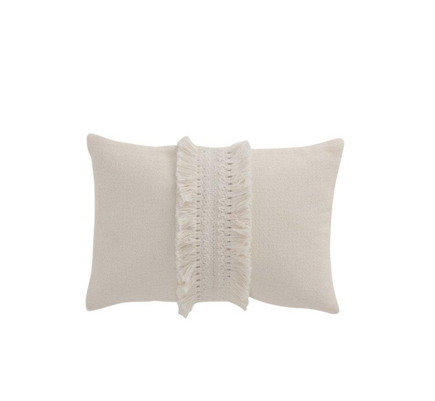 Cushion Rectangle Cotton tassel band - White