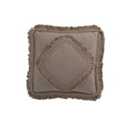 J -Line Cushion Square Cotton Fringes - Taupe