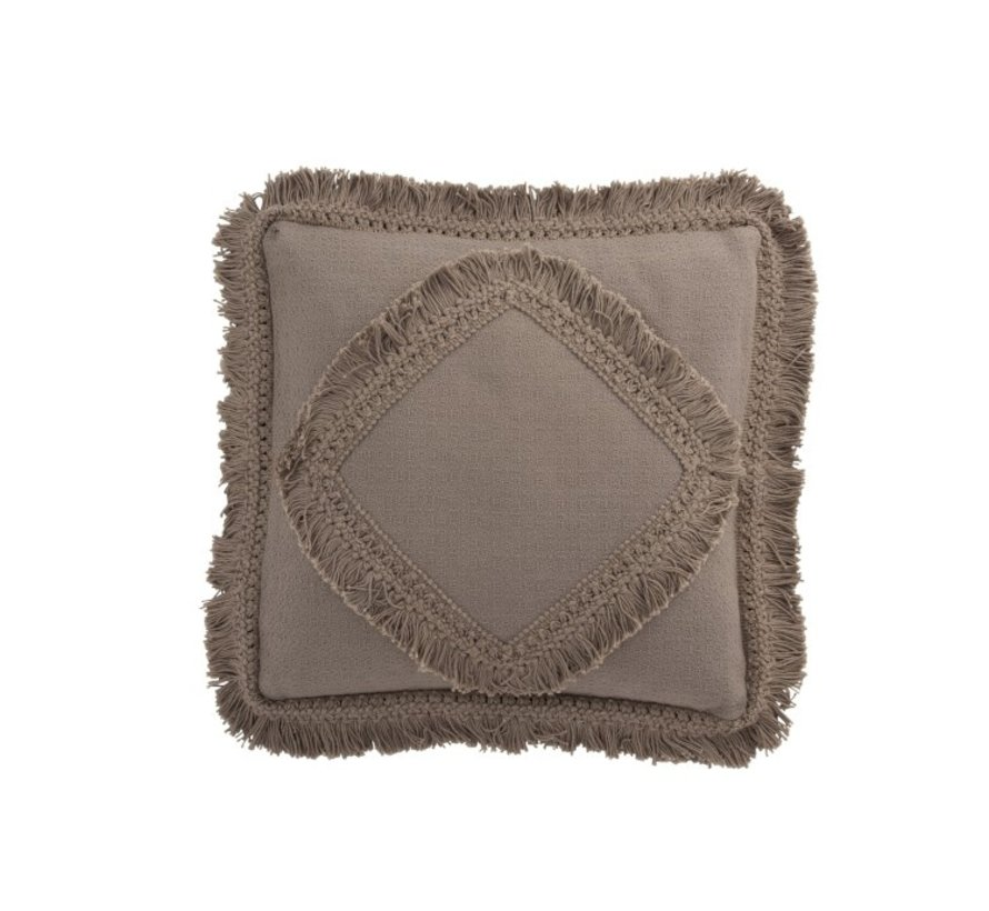 Cushion Square Cotton Fringes - Taupe