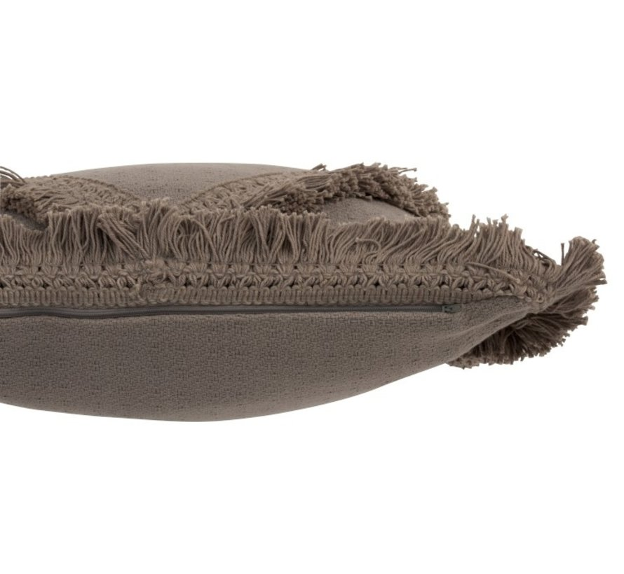 Cushion Square Cotton Fringes - Taupe