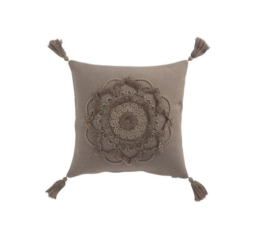 J -Line Cushion Square Cotton Flower Tassels - Taupe