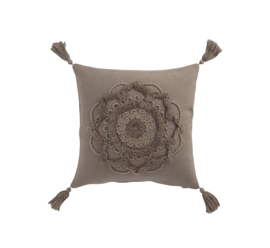 Cushion Square Cotton Flower Tassels - Taupe