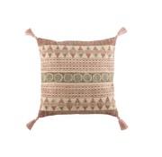 J-Line Cushion Square Cotton Indian Tassels Bordeaux - Green
