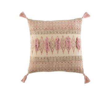 J -Line Cushion Square Cotton Indian Tassels Bordeaux - Pink