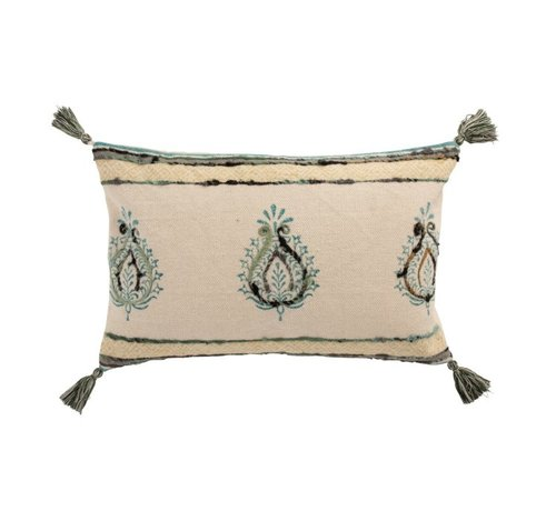 J -Line Cushion Rectangle Cotton Lily Pattern Beige Blue - Green