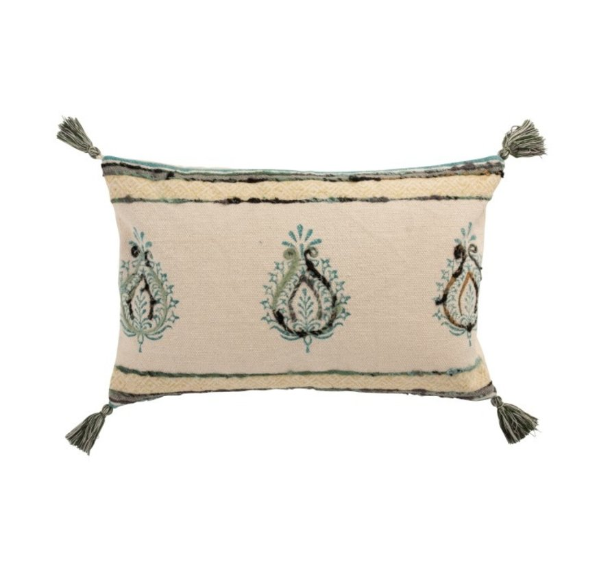 Cushion Rectangle Cotton Lily Pattern Beige Blue - Green