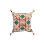 J -Line Cushion Square Cotton Check Tassels Orange - Blue