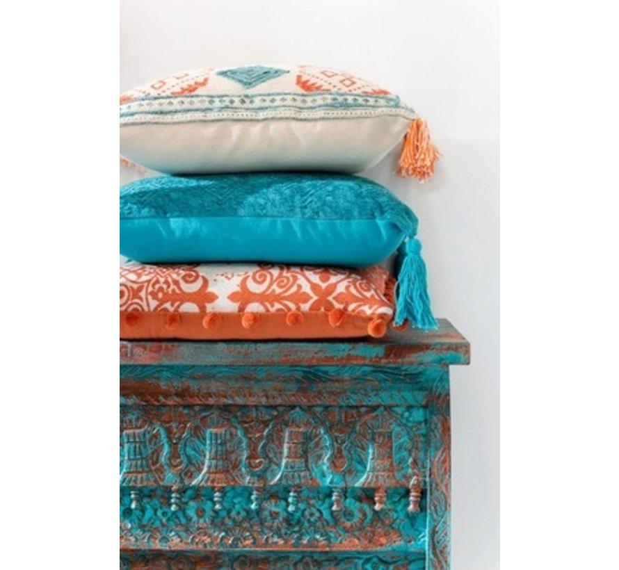 Cushion Square Cotton Check Tassels Orange - Blue
