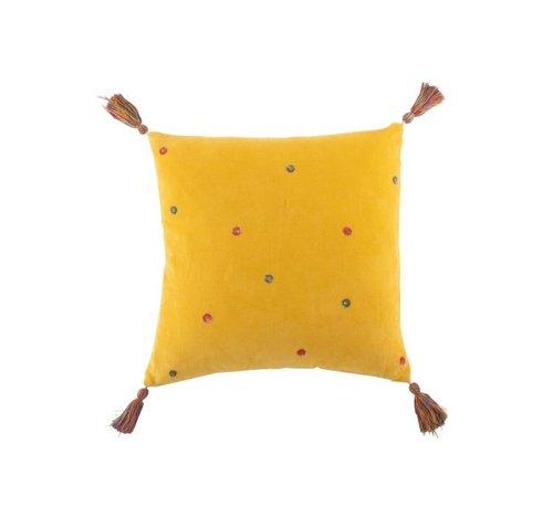 J -Line Cushion Square Cotton Mirror Dots Tassels - Yellow