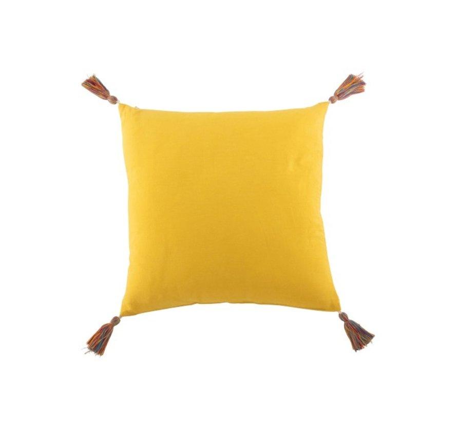 Cushion Square Cotton Mirror Dots Tassels - Yellow