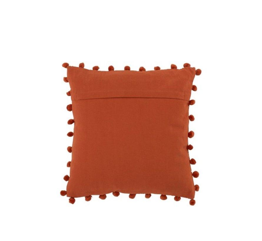 Kussen Vierkant Poly Barok Pomponnetjes Oranje - Beige