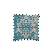 J -Line Cushion Square Poly Baroque Pompoms Turquoise - Beige