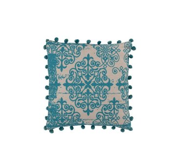 J -Line Cushion Square Poly Baroque Pompoms Turquoise - Beige
