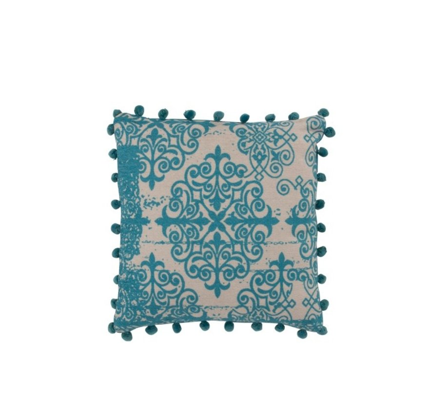 Cushion Square Poly Baroque Pompoms Turquoise - Beige