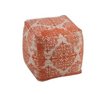 J -Line Poef Vierkant Polyester Barok Oranje - Beige